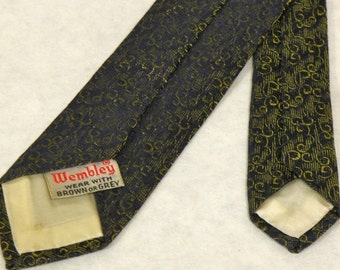 "VINTAGE 1950/60's - Skinny Necktie, Narrow Tie, Business Tie, Navy with a Gold Scroll Pattern, 'Wembley' Brand, 56"" long"
