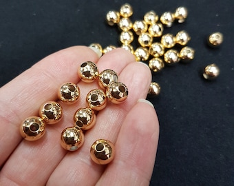 20pc's x 8mm Tarnish Resistant Gold Electroplated Spacer Beads