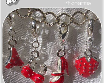 SET OF 4 CHARMS CHARMS RED SNAP SLIP SHOE STRAWBERRY SHIRT * V306