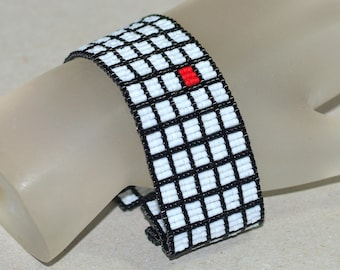 Red Square ... Peyote Bracelet . Beadwoven Cuff . Black and White . Geometric . Bold Bracelet . Handmade Jewelry . Seed Beads . Modern