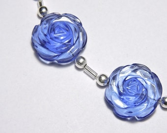 2 Pieces Beautiful Tanzanite Blue Quartz Hand Carved Rose Flower Shaped Beads Size 18X18 MM