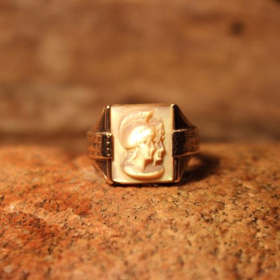 Vintage Intaglio Sterling 10K Gold Roman Soldier MOP Ring 11.9 Grams Size 10 Vintage Sterling Ring Silver Vintage Ring Mens Silver Rings