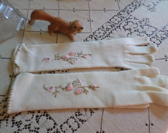 Vintage Hanson Costume Knits-Long Ivory/Embroidered Gloves-Pink Rosettes/Gold Metallic Trim