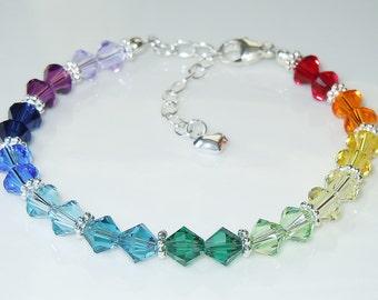 Swarovski Bicone Crystal Spectrum Rainbow Beaded Bracelet