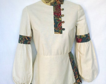 Late 1960s, Early 1970s Cossack Blouse, Made in India, Bishop Sleeves XS, XXS
