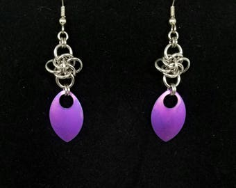 Stainless Steel Persephone Chainmaille Earrings With Violet Titanium Scale