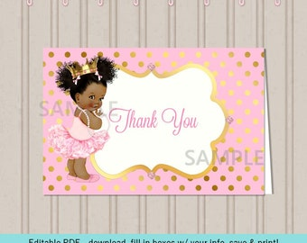 Pink & Gold Tent Card | African American Afro Puffs | Editable Digital Download
