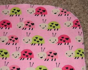 Pink and Green Lady Bug XL Receiving Blanket