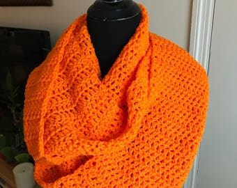 Hand Crochet Infinity Scarf - Brite Orange