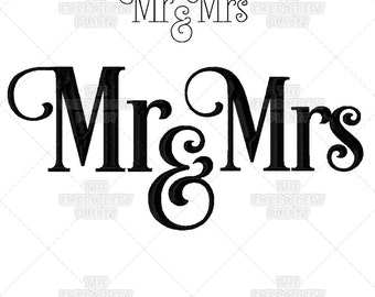 Mr and Mrs, Calligraphy, Wedding embroidery, script embroidery, his and hers, wedding gift ideas, wedding gift supplies, Machine Embroidery
