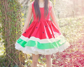 New York Couture Limited Edition JUICY Red Mouth-watering WATERMELON Dress