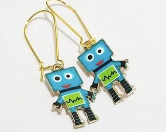 Robot Enamel Charm Earrings with Gold Tone Kidney Earwire Earrings Earrings Cute Bohemian Hobo Style Earrings