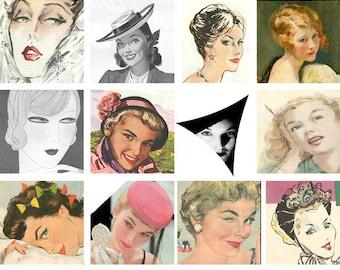 Vintage Faces Digital Collage Sheet 20 2 inch squares Digital jpeg download D117