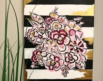 Abstract Floral with Metallic Gold Original Acrylic wrapped Canvas painting 18x24