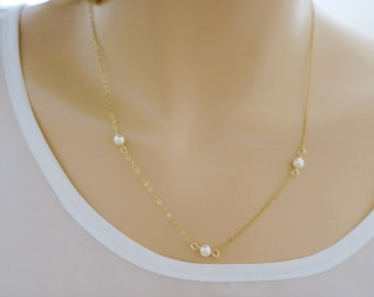 14k Gold Filled Pearl Necklace, Dainty Thin Gold Chain, Sterling Silver  Layered Necklace / just1gold Everyday Jewelry