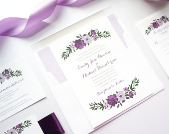 Floral Wedding Invitation, Floral Wedding Invites, Purple Floral Wedding Invitation, Floral Wreath Invitations - SAMPLE SET