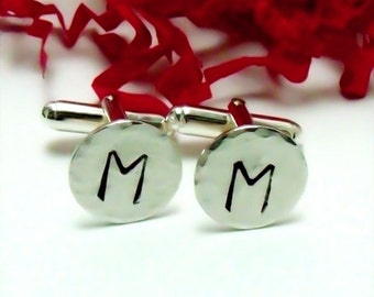 Mens Cuff Links - Hand Stamped Sterling Silver Cuff Links  - Wedding - Groom - Groomsman - gifts for Dad - Anniversary Gift