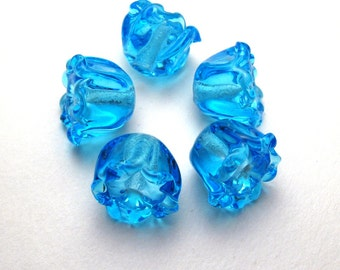BLUE BELL BEADS, Artisan Lampwork Glass Flower Beads, handmade jewelry supplies sra, aqua, turquoise