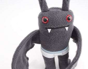 Flasher Bat! Plush bat in tiny tighty whities - Blue striped band