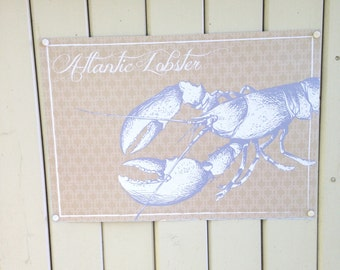 Placemats Atlantic Lobster disposable paper place mats, blue beige old world style clambakes summer parties coastal