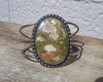 J. Hayes Native American Cuff Bracelet Sterling and Agate Large Sized Stone Beaded Bezel