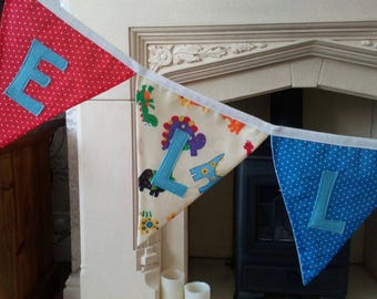 Personalised Dinosaur fabric bunting / banner flag (per letter or flag) for birthday, baby boy/girl, new baby