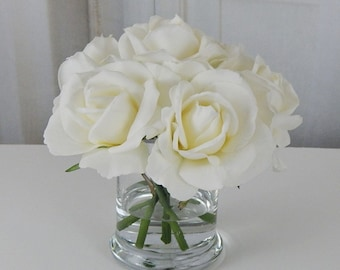 White, ivory, rose/roses, glass, vase, faux, water, acrylic/illusion, silk, Real Touch, flowers, floral arrangement, centerpiece