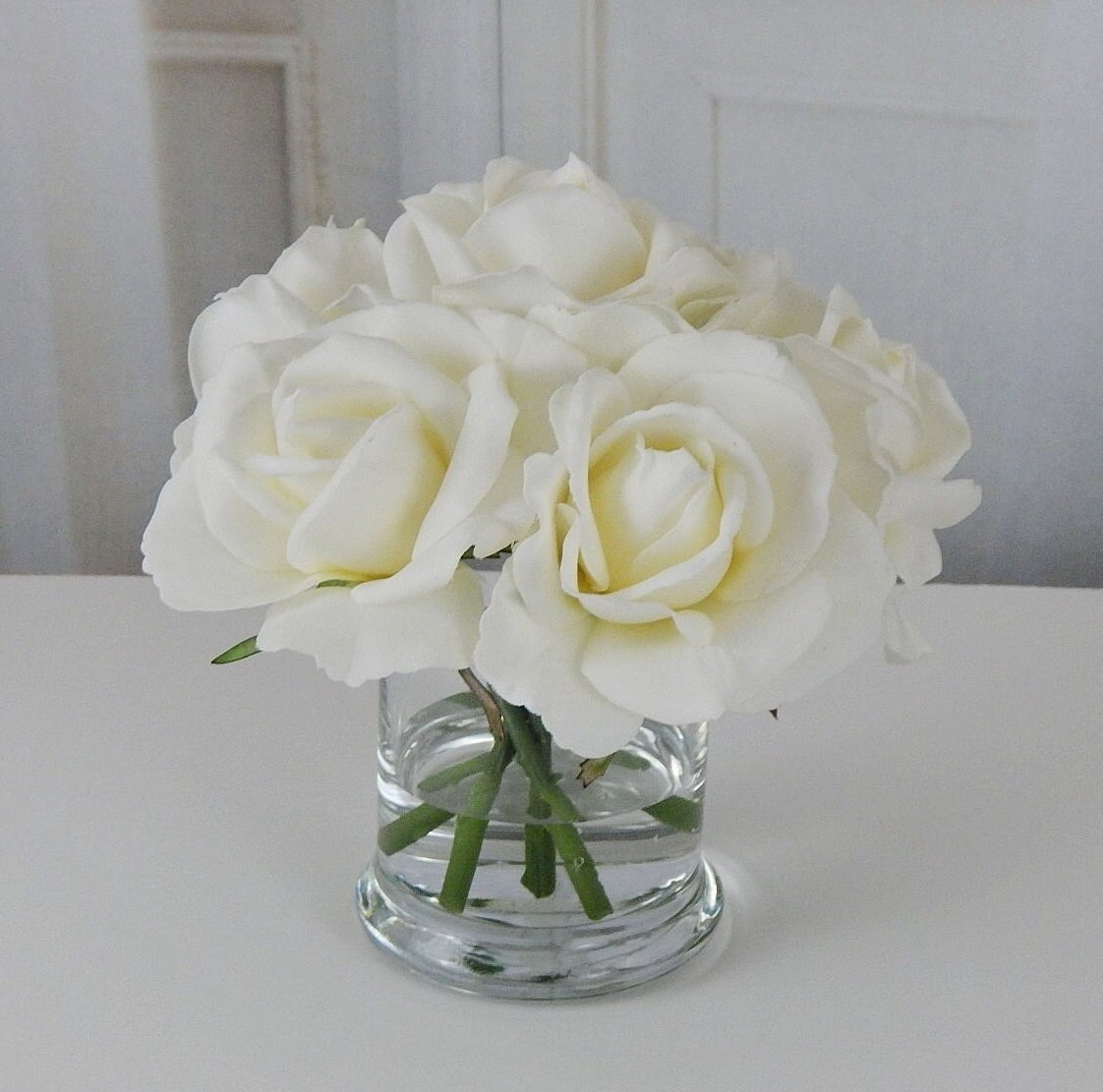 White ivory roseroses glass vase faux water request a custom order and have something made just for you mightylinksfo Image collections