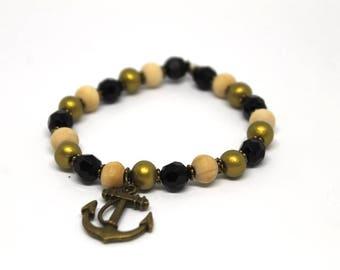 Anchor bracelet, bead bracelet, crystal, yoga mala, men's bracelet, Valentine's Gift, gift for him, gift for her, gift for mom, boho jewelry