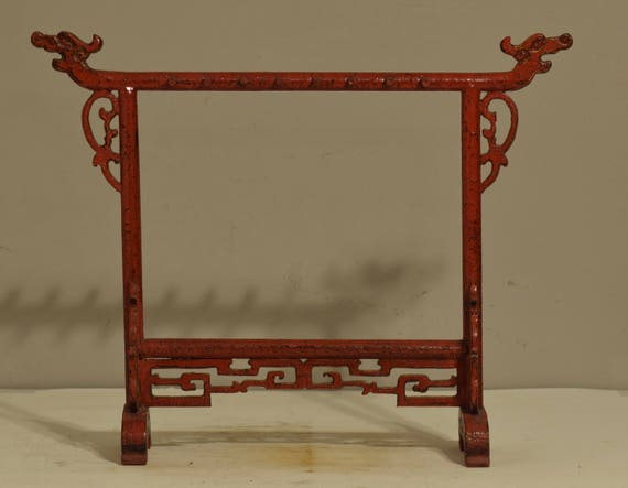 Chinese Red Lacquer Dragon Jewelry Stand Display Necklace Bracelets Red Chinese Stand