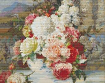 Roses Cross Stitch Pattern PDF, Art Cross Stitch Chart, Floral Cross Stitch, William Jabez Muckley, Embroidery Chart
