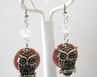 Owl Bird Earrings Enameled