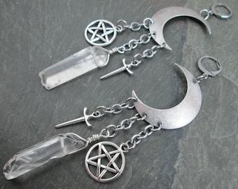 Earrings for Tunnels - Quartz Points - Gemstone Ear Hangers - Moon Earrings - White Witch Earrings - Pagan Jewelry - Crescent Moon