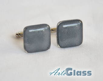 Cufflinks handmade painted grey, square