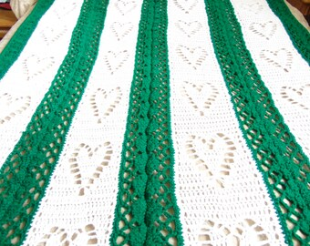 Hearts and Diamonds, Green and white afghan throw.