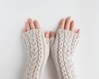 Knit cable fingerless gloves, gray hand knit armwarmers, grey knitted hand warmers, handmade womens mitts, winter mittens