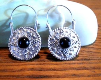 Vintage Sterling Silver Funky Hippie Boho Hanging Earrings with Black Onyx Stones 16.7gr