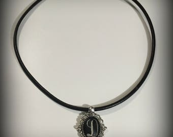 """Monogram Initial Necklace under Glass Dome on 18"""" Leather Necklace"""
