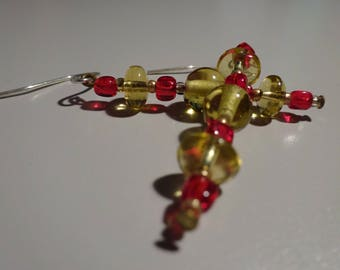 Yellow and Red Earrings