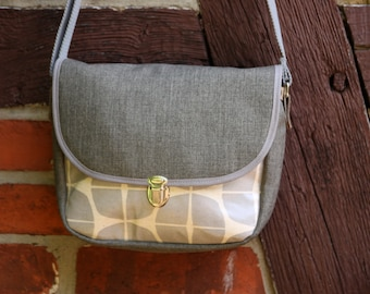 Small shoulder bag, oilcloth, water repellent, grey