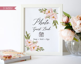 Photo Guest Book Sign,Wedding Photo Guest Book Printable,Photo Guest Book Wedding,Polaroid Guest Book Sign,Floral Photo Guest Book Sign,PDF