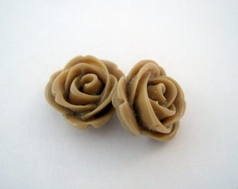 Set of 2 roses in Brown resin 13 mm - en-0166