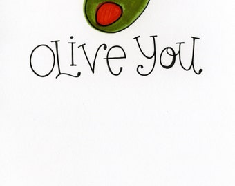 Olive You card - A7 FREE SHIPPING - Valentine