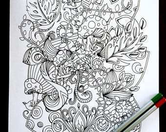 Adult Kids Woodland Coloring Page Original Mushroom Leaf Nature Art