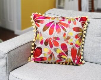 Decorative Pillow--Modern Decor--Upscale Decor--Designer Fabric--Statement Decor--Eco Friendly--Repurposed--Vintage Ball Trim--Mid-Century