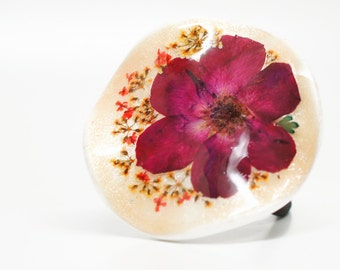Real Red Rose Flower ponytail holder - real pressed flower, unique hair accessory, special gift