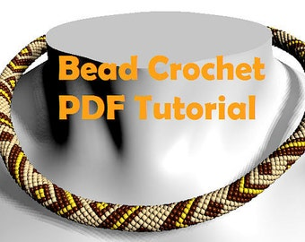 Bead crochet PATTERN - bead crochet tutorial - beading tutorial - beading pattern - жгут из бисера схема - crochet necklace rope pattern