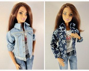 Barbie clothes - doll clothes - Barbie jeans - Barbie doll clothes - Denim jacket for Barbie doll (M2M, Belly Button, regular Fashionista)