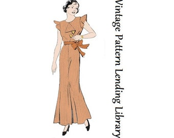 1930s Ladies Lounging Beach Pajamas - Reproduction Sewing Pattern #T1536