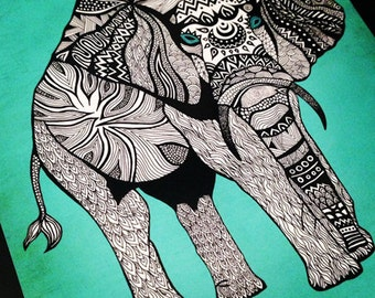 Tribal Elephant Art Print – 11 x 14 Poster in Turquoise, Black & White